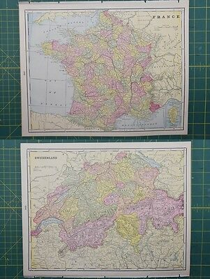 France Switzerland Vintage Original 1895 Crams World Atlas Map Lot