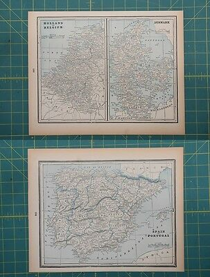 Spain Holland Belgium Vintage Original 1893 Columbian World Fair Atlas Map Lot
