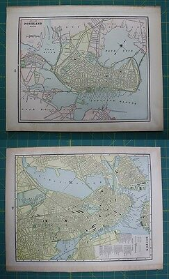 Portland, ME Boston, MA Vintage Original 1899 Cram's World Atlas Map Lot