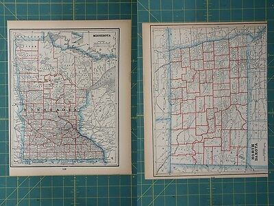 Minnesota North Dakota Vintage Original 1893 Columbian World Fair Atlas Map Lot