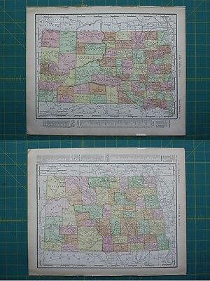 North and South Dakota Vintage Original 1910 Rand McNally World Atlas Map Lot