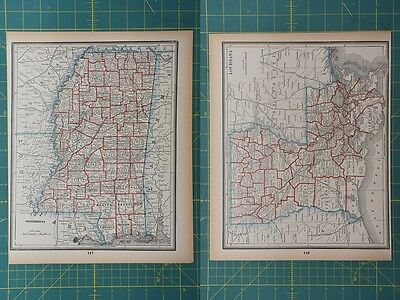 Mississippi Louisiana Vintage Original 1893 Columbian World Fair Atlas Map Lot