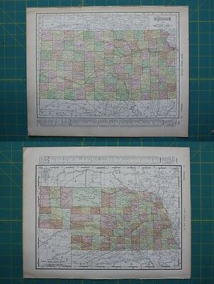 Kansas Nebraska Vintage Original 1910 Rand McNally World Atlas Map Lot