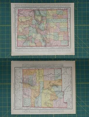 Colorado New Mexico Vintage Original 1896 Rand McNally World Atlas Map Lot