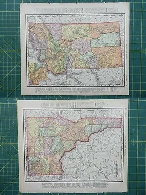 Montana Idaho Vintage Original 1895 Rand McNally World Atlas Map Lot