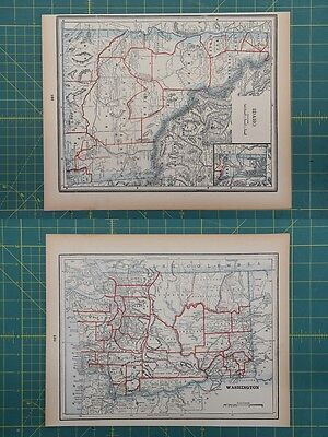Idaho Washington Vintage Original 1893 Columbian World Fair Atlas Map Lot