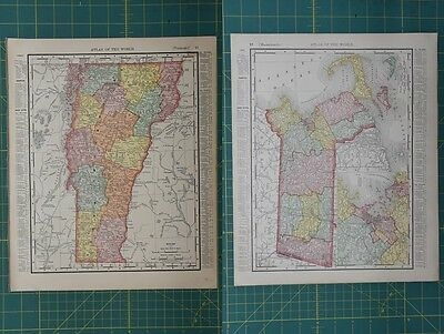 Vermont Massachusetts Vintage Original 1896 Rand McNally World Atlas Map Lot