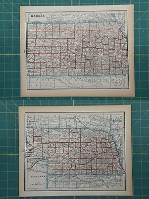 Kansas Nebraska Vintage Original 1893 Columbian World Fair Atlas Map Lot