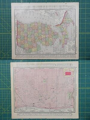 Michigan Detroit Vintage Original 1895 Rand McNally World Atlas Map Lot