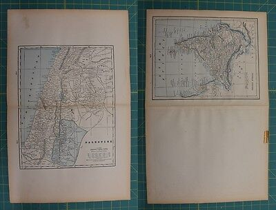 Palestine Indian Empire Vintage Original 1893 Columbian World Atlas Map Lot