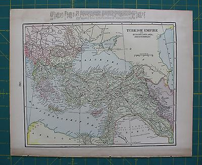 Turkish Empire Vintage Original 1899 Cram's World Atlas Map Lot