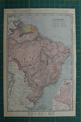 Brazil Vintage Original 1896 Rand McNally World Atlas Map Lot