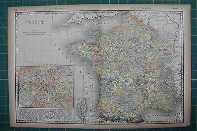 France Vintage Original 1894 Rand McNally World Atlas Map Lot