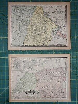 Abyssinia NW Africa Vintage Original 1894 Rand McNally World Atlas Map Lot