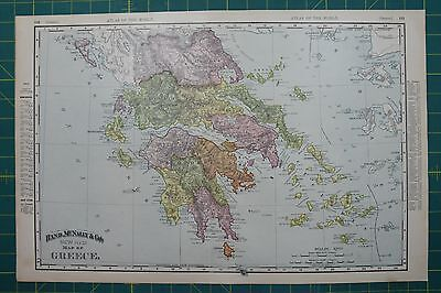 Greece Vintage Original 1895 Rand McNally World Atlas Map Lot