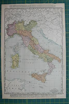 Italy Vintage Original 1895 Rand McNally World Atlas Map Lot