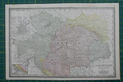 Austro-Hungarian Monarchy Vintage Original 1889 Rand McNally World Atlas Map Lot
