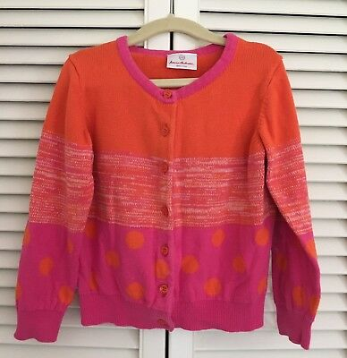 Hanna Andersson-Girls Pink/Orange Cardigan Sweater-Size 110(age 5)
