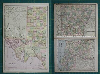 West Texas Arkansas Louisiana Vintage Original 1897 Cram's World Atlas Map Lot