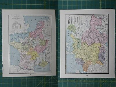 France Germany Vintage Original 1895 Crams World Atlas Map Lot