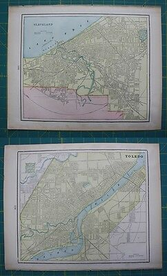 Cleveland, OH Toledo, OH Vintage Original 1899 Cram's World Atlas Map Lot