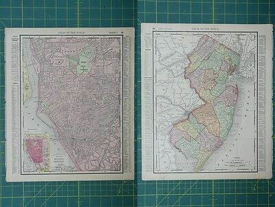 Buffalo New Jersey Vintage Original 1895 Rand McNally World Atlas Map Lot