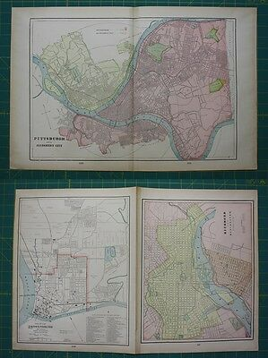 Pittsburg Richmond Parkersburg Vintage Original 1899 Cram's World Atlas Map Lot