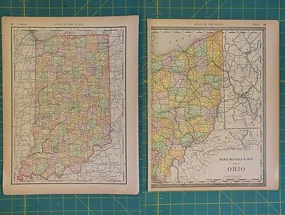 Indiana Vintage Original 1894 Rand McNally World Atlas Map Lot