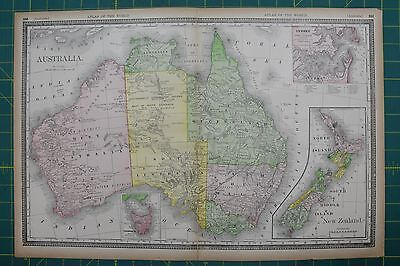 Australia Vintage Original 1894 Rand McNally World Atlas Map Lot