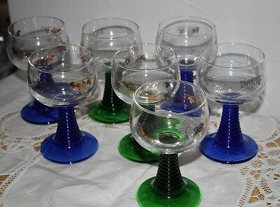 Vtg Set 6 +1 Schmitt Sohne W Germany Wine Glasses Art Deco Stems Green Blue