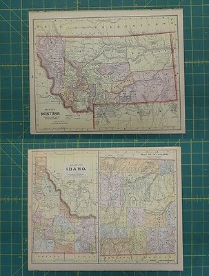 Montana Idaho Wyoming Vintage Original Antique 1892 World Atlas Map Lot