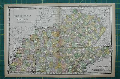 Kentucky Tennessee Vintage Original 1894 Rand McNally World Atlas Map Lot