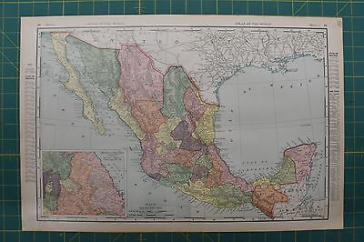 Mexico Vintage Original 1896 Rand McNally World Atlas Map Lot