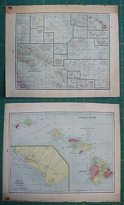 Pacific Ocean & Hawaiin Islands Vintage Original 1899 Cram's World Atlas Map Lot