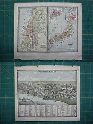Palestine Japan Vintage Original 1885 Cram's World Atlas Map Lot