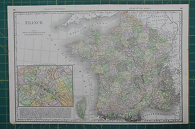France Vintage Original 1889 Rand McNally World Atlas Map Lot