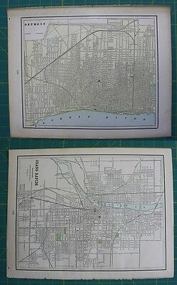 Detroit, MI Grand Rapids, MI Vintage Original 1897 Cram's World Atlas Map Lot