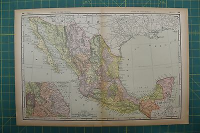Mexico Vintage Original 1894 Rand McNally World Atlas Map Lot