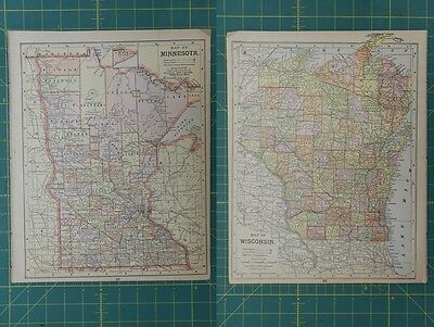 Minnesota Wisconsin Vintage Original Antique 1892 World Atlas Map Lot