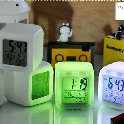 Led Alarm Clock Glowing Digital Change 7 Color Thermometer Night Light Calendar