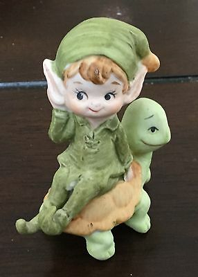 Lefton China Green Elf Gnome Pixie on Turtle Adorable Pointed Ears !