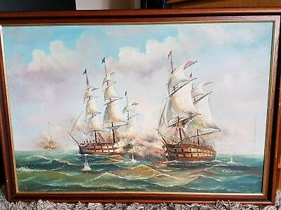 """Antique oil painting Ships Signed 38"""" x 26"""""""