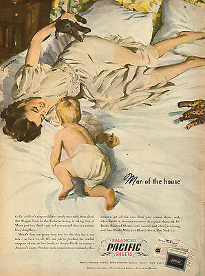 1945 WW2 era AD PACIFIC PERCALE BED SHEETS  Great Art by John Gannam 072415