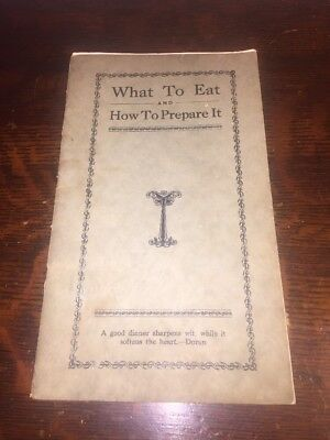 1928 What To Eat And How To Prepare It vintage cookbook Massillon Ohio
