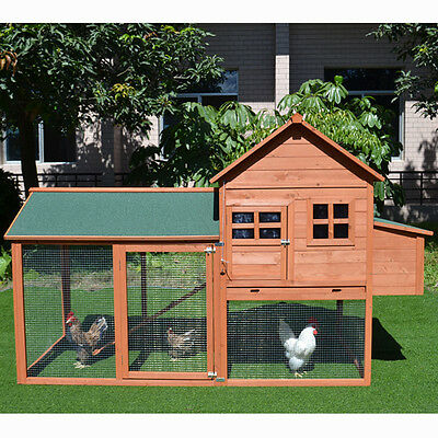 2.2M XLarge Chicken Coop Rabbit Guinea Pig Hutch Ferret House With Egg Cage T054