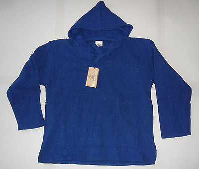 NEW NWT BAJA BILLY'S MEXICAN HOODIE Hippie Surfer Poncho Sweater Jacket Blue M