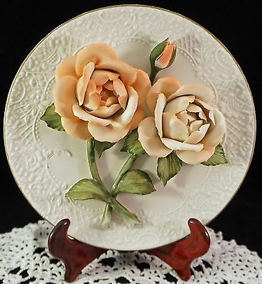Franklin Mint 3D Porcelain Plate The Sonia Roses of Capodimonte Limited Edition