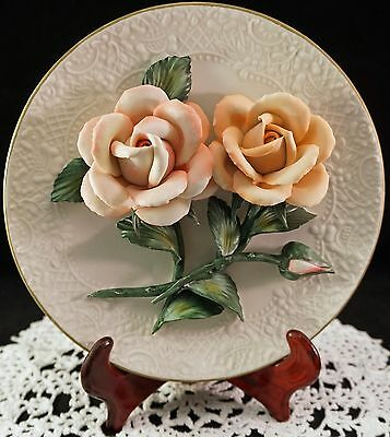 Franklin Mint 3D Porcelain Plate The Orange Roses of Capodimonte Limited Edition