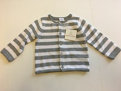 NWT Hanna Andersson Size 80 Gray & White Striped Organic Cotton Cardigan Sweater