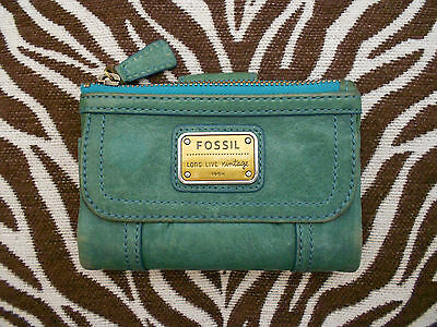 FOSSIL Womens Green Leather Multifunction Trifold Wallet Coin Purse Card Holders